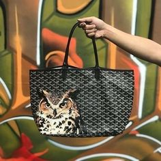 """Handpainted """" Fierceful Owl on Goyard Tote """" Custom made by _ Goyard Tote, Tote Bag, Hypebeast, Behind The Scenes, Leather Bag, Hand Painted, Photo And Video, Products, Painting"""