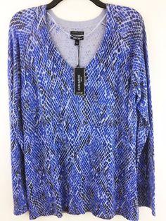 New Apt. 9 Womens L Soft Cashmere Blend Sweater Blue Snake Animal Pullover Top #Apt9 #VNeck