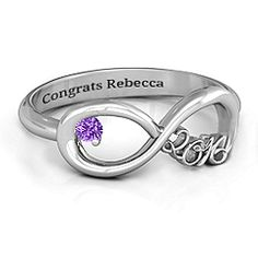 Customize an infinity ring for your special graduate. Choose sterling silver, white gold, yellow gold or rose gold - add their birthstone and a special engraving! Skull Engagement Ring, Ring Settings Only, Mother Rings, Silver Prices, Graduation Gifts, Graduation Ideas, Graduation 2015, Graduation Jewelry, College Graduation