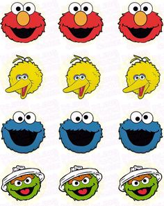 Sesame Street Fab Four Character Inspired Edible Icing Cupcake Decor Toppers – – Cupcakes 2020 Elmo First Birthday, Monster Birthday Parties, Birthday Star, Elmo Party, Baby Party, Birthday Ideas, Sesame Street Birthday Cakes, Sesame Street Cupcakes, Sesame Street Cake