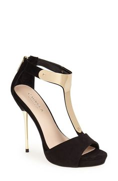 T-Strap Heel with Gold.