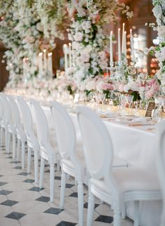 Parisian dream wedding table: Floral Design: Kitten Grayson - http://www.stylemepretty.com/portfolio/kitten-grayson Assistant Photographer: Oliver Fly - oliverfly.com Assistant Photographer: Marie Film Photographer - www.marie-filmphotographer.com   Read More on SMP: http://www.stylemepretty.com/2017/02/22/a-parisian-dream-wedding-that-all-starts-with-a-couture-gown/