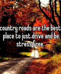 Country roads, take me home. My favorite place is behind the wheel, where it's nothing but me and Telford going wherever I feel like, I love it. No stress, no people, just me and my little metal shell going on adventures all alone and being my own best friend.                                                                                                                                                      More