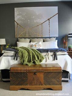 Simple Details: builder beige to breathtaking... Artwork: Ikea Premiar Paint color: Sherwin Williams 8785 Iron Horse