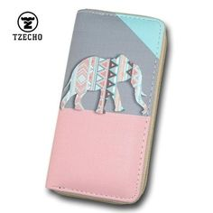 TZECHO Long Women Wallets Leather Print Cartoon Elephant Long Girls Zipper Purses Coin Pocket Credit Card Holder Clutch Bag Purse Wallet, Clutch Bag, Coin Purse, Cartoon Elephant, Womens Purses, Zipper Bags, Wallets For Women, Fashion Bags