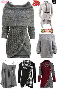 Rosegal Grey sweaters best sellers women fashion hot style for Christams Woman outfits ideas, Classy Dress, Classy Outfits, Casual Outfits, Cute Outfits, Men Casual, Fashion Outfits, Womens Fashion, Woman Outfits, Country Outfits