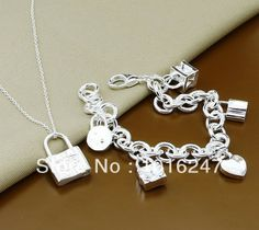 Promotion items, fashion 925 Sterling Silver jewelry,925 silver Lock cahrm pendant necklace  + bracelet jewelry , Free Shipping $8.50