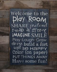 How cute would this be in the playroom! Large Wood Sign - Welcome to the Play Room - Subway Sign