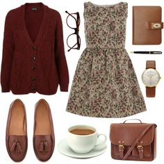 Love the brown leather and earth tones. I would wear it to work with leggings.