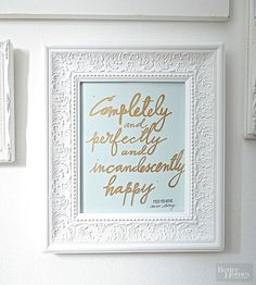 Express your favorite lyrics on watercolor paper. How to: http://www.bhg.com/decorating/do-it-yourself/accents/diy-trends/?socsrc=bhgpin060815handlettering&page=10