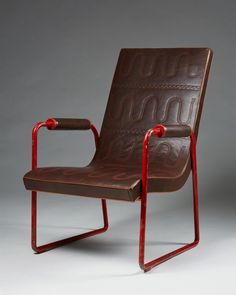 Axel-Einar Hjorth; Unique Enameled Steel and Stitched Leather Chair for Nordiska Kompaniet, 1930.