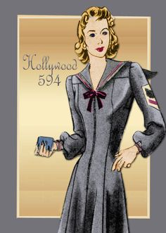 Sewing Pattern 1940s Dress Hollywood 594 WWII Swing Era with Princess Seams and…