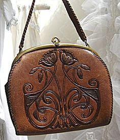 Antique Art Nouveau Leather Handbag