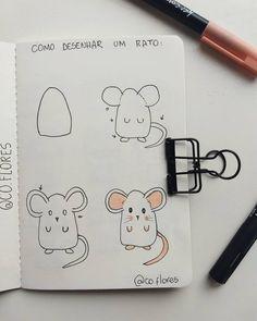 Mais uma tentativa pra mostrar como desenhar o ratinho que usei no setup de agosto no bullet journal 🐭