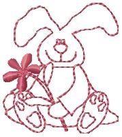 Spring Easter Bunny Redwork -