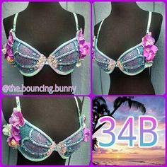 Mermaid rave bra plurmaid ravewear rave clothes the bouncing bunny edc bra