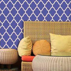 Moroccan Stencils | Large Marrakesh Trellis | Royal Design Studio -- for stenciling porch rug -- $39