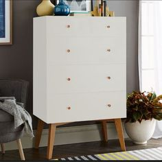 Tall Storage 5-drawer Dresser - White