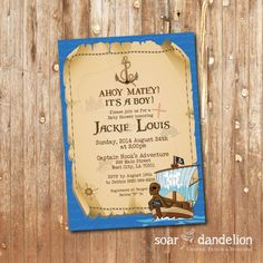 Pirate Baby Shower Printable Invitation  BS034 by soardandelion, $9.90