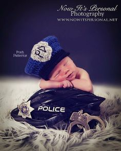 Crochet PATTERN Baby Police Man Hat Policeman Hat PDF 274 - Newborn to 12 Months - Permission To Sell Finished Items - Photography Prop