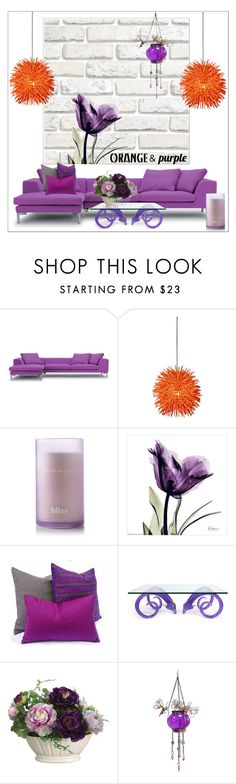 """""""Color Challenge: Orange and Purple"""" by aria-star ❤ liked on Polyvore featuring interior, interiors, interior design, home, home decor, interior decorating, Varaluz, Bliss, Jonathan Adler and Allstate Floral"""