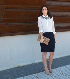 In Front Row Style: Falda azul y blusa estampada #kissmylook