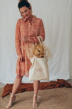 """""""Always in Bloom"""" Tote Bag Bloom, Tote Bag, Fashion Accessories, Bags, Dresses With Sleeves, Lifestyle, Long Sleeve, Shopping, Natural Colors"""