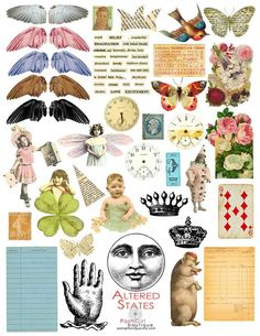 Altered States Digital Collage Sheet by PoshGirlBoutique on Etsy