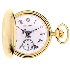 Jean Pierre Of Switzerland Mechanical Full Hunter Gold Plated Pocket Watch. Now available at www.pocketwatch.co.uk #pocketwatch #timepiece
