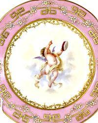 Stunning Antique Lamm Dresden Gilded Cherub Cabinet Plate Pink