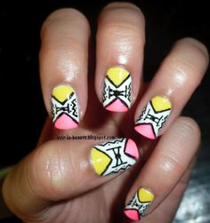 Polish Love: Neon Tribal Nails #Nailart