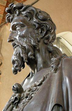 Lorenzo Ghiberti, San Giovanni Battista, 1412-16, particolare del volto, Museo di Orsanmichele, Firenze