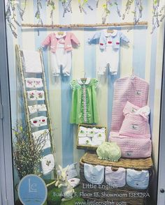 This photo does not even begin to do justice to the overwhelming amount of cuteness going on in this window!!!!  We are BEYOND excited for our window display at #AmericasMart !  #behindthescenes #windowdisplay #showroomenvy #childrensclothes #littleenglishclothing