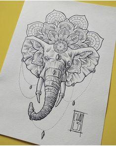 Elephant mandala tattoo - Tattoo ideen - Tattoo World Mandala Elefant Tattoo, Elephant Mandala Tattoo, Geometric Elephant Tattoo, Elephant Thigh Tattoo, Elephant Tattoo Design, Elephant Art, Elephant Tattoos, Elephant Drawings, Buddha Elephant