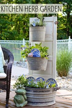 Little Brags: Decorating With Old Doors ... I like this, not sure about the dishes in the pots but the rest is nice ...K