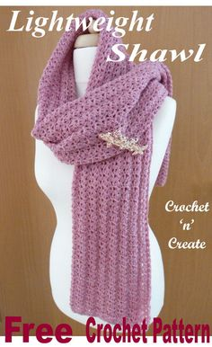 Lightweight Shawl Free Crochet Pattern Crochet this lightweight shawl for yourself or family and friends, free crochet pattern made using … Crochet Prayer Shawls, Crochet Shawls And Wraps, Crochet Scarves, Crochet Yarn, Crochet Clothes, Free Crochet, Crochet Designs, Crochet Patterns, Crochet Ideas