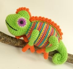 Camelia the Chameleon, Amigurumi Crochet Pattern.Think of a colour, any colour, and you can be sure that Camelia has already thought about it, and probably worn it too. She's usually more comfortable when she can blend seamlessly into the background, but as long as you've checked that there are no known predators about she's happy to go with any colour combo you can think up for her with whatever oddments you can find in your stash. After all, if she's feeling nervous she can...