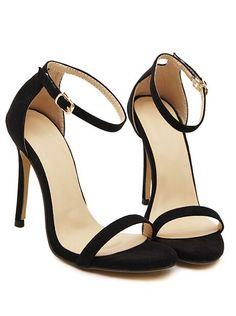Black Stiletto High Heel Ankle Strap Sandals
