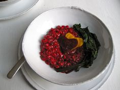 beet whole barley risotto with wilted beet greens