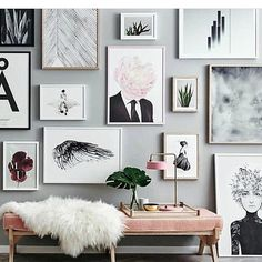 In love with this space and gallery wall via @houseofhoney • •  #homedecor #interiordesign #grayrooms #design #designinspiration #homedecor #homedecorating #diy #art #wallgallery #pink #modern #abstractart #inspiration #midcentury