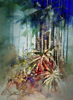"""Forest Light - watercolor John Lovett [ http://johnlovettwatercolorworkshop.com/brush-work/ ] - """"This painting shows a number of different brush techniques. Dragging lines and sweeping lines are used in the vertical trees. The foreground is punctuated with controlled splashes and a hake brush was used to smooth out overwashes on either side. """""""