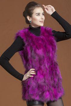 Real 100%  Raccoon Fur Women Long  Coat Jacket Overcoat  Garment VEST
