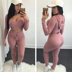 Women Crop Tops Long Pants Clothing Set Sexy Two-piece Clubwear Bodycon Jumpsuit Pink Jumpsuit, Bodycon Jumpsuit, Cotton Jumpsuit, Playsuit Romper, Fitted Jumpsuit, Casual Outfits, Cute Outfits, Fashion Outfits, Womens Fashion