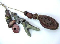 BUNDLE Tribal Bead Pendants Stone Pebble Effect by RaggedRobyn, £32.00
