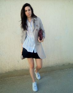 shoes: nike/ skirt: zara/ shirt: pull&bear/ bag: pull&bear/ trench coat: bershka It seems that the autum. Nike Skirts, Zara Shirt, Running, Coat, Jackets, Shirts, Women, Fashion, Down Jackets