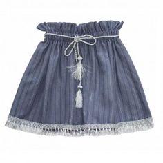 Fustă din in cu ciucuri si snur argintiu Veil, Girl Outfits, Tulle, Velvet, Satin, Elegant, Skirts, Cotton, Clothes