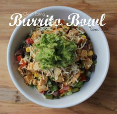 *no rice.just lettuce* Clean Eating Burrito Bowl -- Easy, healthy, quick! Mexican Food Recipes, Real Food Recipes, Chicken Recipes, Cooking Recipes, Healthy Recipes, Healthy Chicken, Mexican Dishes, I Love Food, Good Food