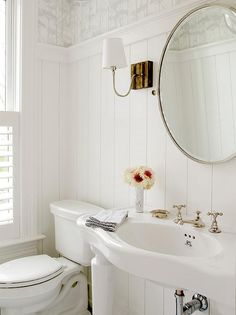 White Cottage Powder Room with Marimekko II Putkinotko Floral and Botanical Wallpaper