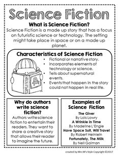Science fiction writing learning 45 ideas for 2019 Genre Anchor Charts, Fiction Anchor Chart, Reading Anchor Charts, Reading Genre Posters, Reading Genres, Reading Strategies, Reading Comprehension, Science Fiction, Fiction Writing
