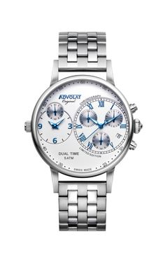 ADVOLAT CAPITAINE Dual Time, Stainless Steel Casing, Face white/grey, Stainless Steel Bracelet, Ref. 88001/1-M2 Limited Edition Watches, Watches Online, Stainless Steel Bracelet, Grey, Bracelets, Face, Stuff To Buy, Accessories, Gray